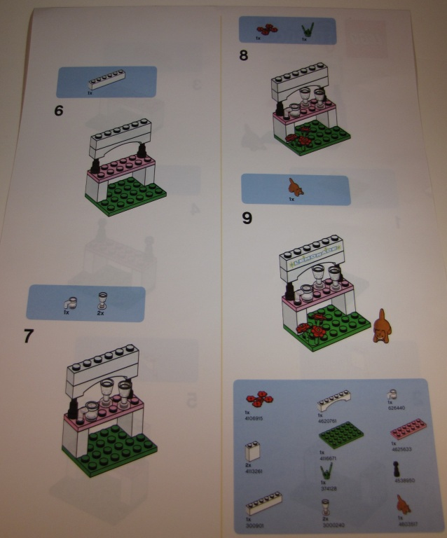 LEGO Friends Lemonade Stand build steps 6-9 and parts count